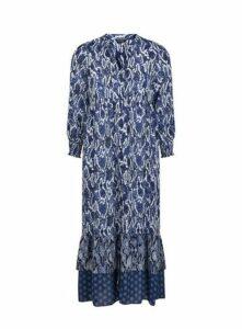 Blue Snake Print Maxi Dress, Mid Blue