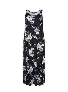 Black Floral Print Maxi Dress, Dark Multi