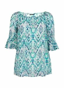 Turquoise Aztec Printed Gypsy Top, Light Blue