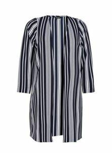 Navy Stripe Print Kimono, Navy