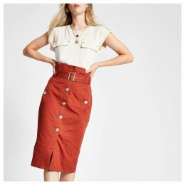 Womens Rust belted pencil skirt