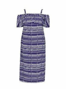 Blue Zig Zag Cold Shoulder Dress, Blue