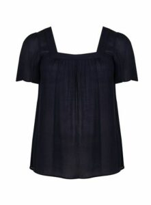 Navy Blue Square Neck Top, Navy