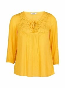 Yellow Embroidered Blouse, Bright Yellow