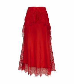 Lace Trim Gathered Midi Skirt