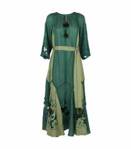 Linen Dragon Flower Maxi Dress