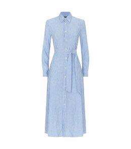Belted Stripe Shirt Dress