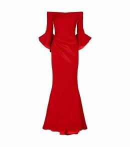 Off-The-Shoulder Scuba Gown