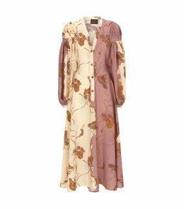 x Paula's Ibiza Printed Peasant Shirt Dress