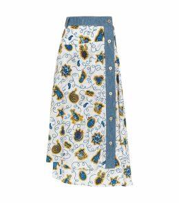 x Paula's Ibiza Printed Denim Trim Skirt