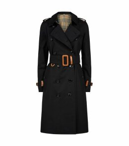 Leather Trim Trench Coat