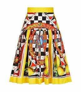 Cotton Printed Midi Skirt