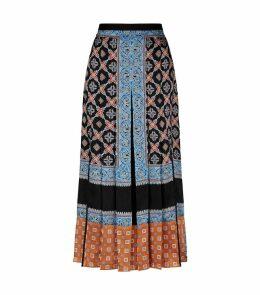Tile Print Pleated Midi Skirt