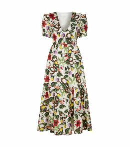 Fruit Plant Silk Midi Dress