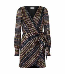 Striped Sequin Wrap Dress