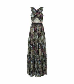 Floral Plissé Maxi Dress