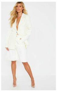 Cream Woven Blazer, White