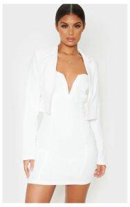 White Cropped Woven Blazer, White