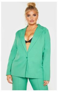 Plus Bright Green Boyfriend Blazer, Bright Green