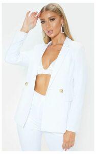White Boyfriend Style Woven Blazer, White