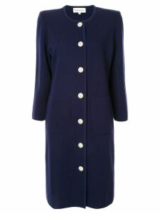Yves Saint Laurent Pre-Owned collarless midi coat - Blue