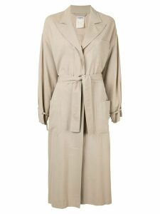 Chanel Pre-Owned relaxed fit tied long coat - Brown