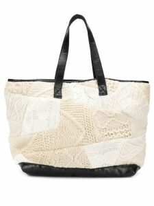 Yohji Yamamoto Pre-Owned 2000's knitted patchwork shopper - Neutrals