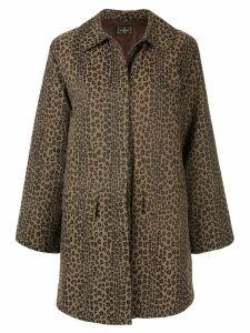FENDI PRE-OWNED leopard printed straight coat - Brown