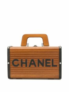 Chanel Pre-Owned wood structured logo tote - Brown
