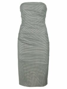 Moschino Pre-Owned strapless check fitted dress - Black