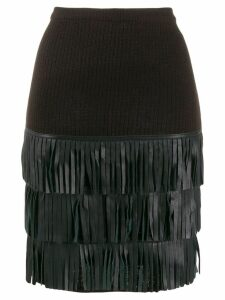YVES SAINT LAURENT PRE-OWNED 1980's fringed knitted skirt - Brown