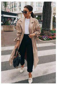 Beige Coats - Lorna Luxe 'Runway' Beige Lightweight Trench Coat