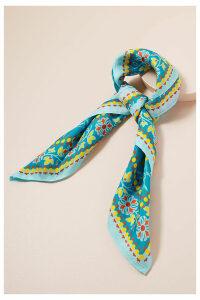 Floral-Print Silk Scarf - Blue