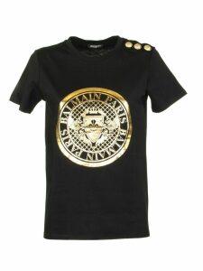 Balmain Black Cotton T-shirt With Balmain Medallion Print