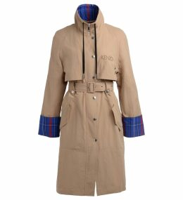 Kenzo Beige Trench Coat With Multicolor Details