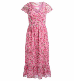 Michael Kors Pink Long Dress With Flower Print