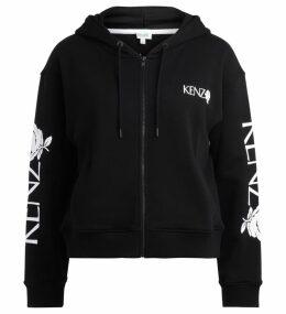 Kenzo Roses Black Hoodie Sweatshirt
