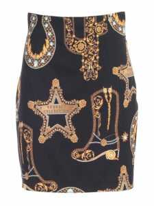 Versace Collection Skirt Short High Waist Baroque Printing