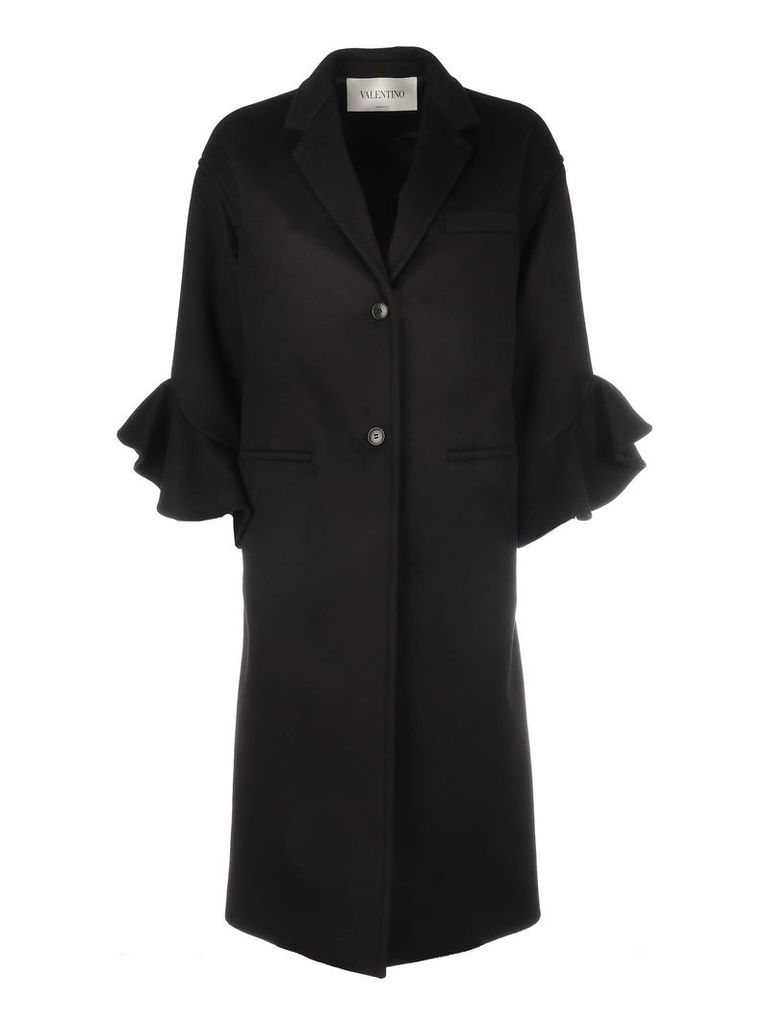 Valentino Wool Coat With Rouche Details/ruches Sleeves