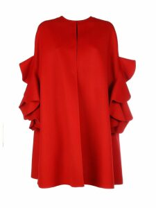 Valentino Wool Coat With Maxy Rouche/cappa Ruches