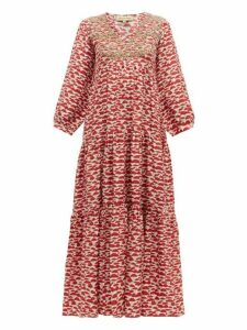 Muzungu Sisters - Frangipani Embroidered Mushroom Print Silk Dress - Womens - Red Multi