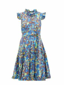 La Doublej - Short And Sassy Ruffle Trimmed Dress - Womens - Blue Multi