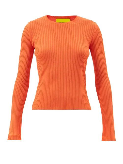 Solid & Striped - Side Slit Knitted Midi Skirt - Womens - Black