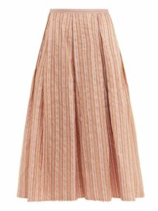 Thierry Colson - Odette Striped Midi Skirt - Womens - Pink