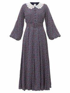 Gül Hürgel - Lace Collar Polka Dot Print Maxi Dress - Womens - Blue Print
