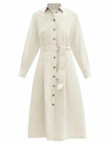 Love Binetti - Lace Trim Tie Waist Tiered Cotton Dress - Womens - Dark Blue