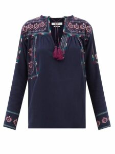 Love Binetti - Striped Lace Panel Cotton Dress - Womens - Light Blue