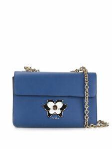 Furla enamelled plaque crossbody bag - Blue