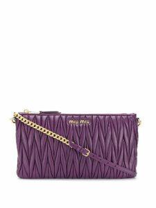 Miu Miu Matelassé logo cross body bag - Purple