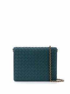 Bottega Veneta woven flap shoulder bag - Green